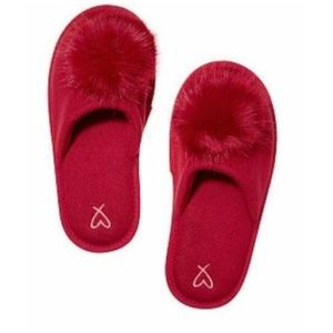 Victorias Secret Slippers Red Pom Pom Slip On Cozy